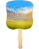 Horizon Cardstock Memorial Church Fans With Wooden Handle front