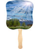 Outdoor Cardstock Memorial Church Fans With Wooden Handle front