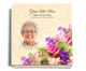 Golden funeral guest book with photo