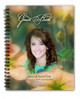 Floral Spiral Wire Bind Memorial Guest Book Registry with photo