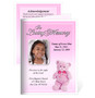 Nursery Small Folded Memorial Funeral Card Template pink