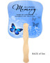 Butterfly Cardstock Memorial Church Fans With Wooden Handle back
