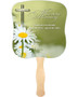 Daisy Cardstock Memorial Church Fans With Wooden Handle front