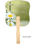Daisy Cardstock Memorial Church Fans With Wooden Handle back