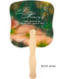 Floral Cardstock Memorial Church Fans With Wooden Handle back