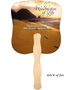 Footprints Cardstock Memorial Church Fans With Wooden Handle back