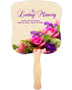 Golden Cardstock Memorial Church Fans With Wooden Handle front