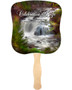Graceful Cardstock Memorial Church Fans With Wooden Handle front