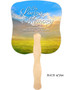 Horizon Cardstock Memorial Church Fans With Wooden Handle back