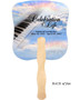 Ivory Cardstock Memorial Church Fans With Wooden Handle back
