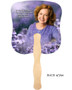 Lilac Cardstock Memorial Church Fans With Wooden Handle back photo