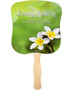 Plumeria Cardstock Memorial Church Fans With Wooden Handle front