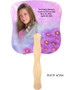 Sparkle Cardstock Memorial Church Fans With Wooden Handle photo back