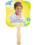 Starry Cardstock Memorial Church Fans With Wooden Handle front photo