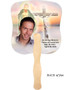 Vision Cardstock Memorial Church Fans With Wooden Handle back photo