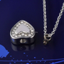 Stainless Steel Rhinestone Heart Urn Necklace Pendant
