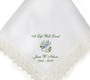 dove lace trim memorial personalized handkerchief closeup