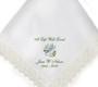 dove lace trim memorial personalized handkerchief closeup