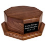 Octagon Wood Urn Stand Base with black plate