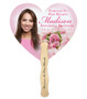 Pink Bouquet Cardstock Memorial Fan With Wooden Handle back view