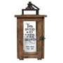 Solid Wood Outdoor Memorial Lantern With Wax Candle front view