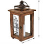 Solid Wood Outdoor Memorial Lantern With Wax Candle size dimension