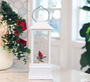 Personalized Memorial Lantern Cardinal with LED Lit Confetti Snow Dome