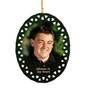 """3.75"""" Oval Doily Ceramic In Loving Memory Christmas Ornament double sided print"""