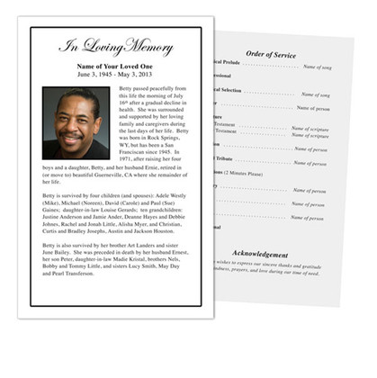 Minimalistic Simple Funeral Program Designs