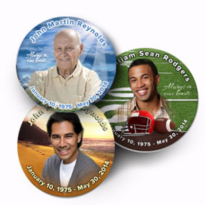 Personalized Photo Buttons In Loving Memory