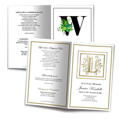 Memorial Service Programs Monogram Designs