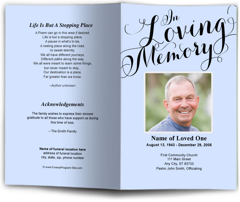 in loving memory funeral program template funeral programs