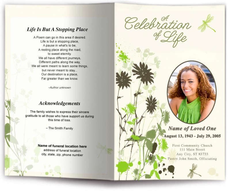 Dragonfly Funeral Program Template Funeral Program Site