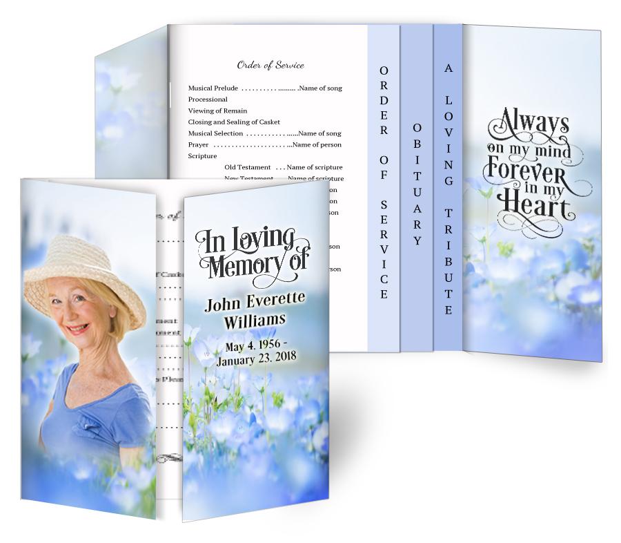 Lavender Gatefold/Graduated Combo Funeral Program Design & Print (Pack of  25)