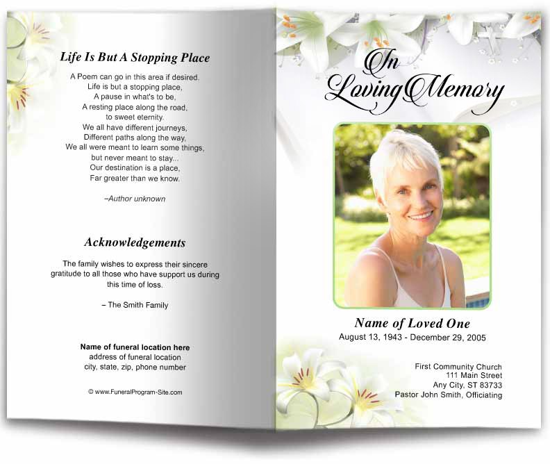 White Lilies Funeral Program Template Funeral Programs