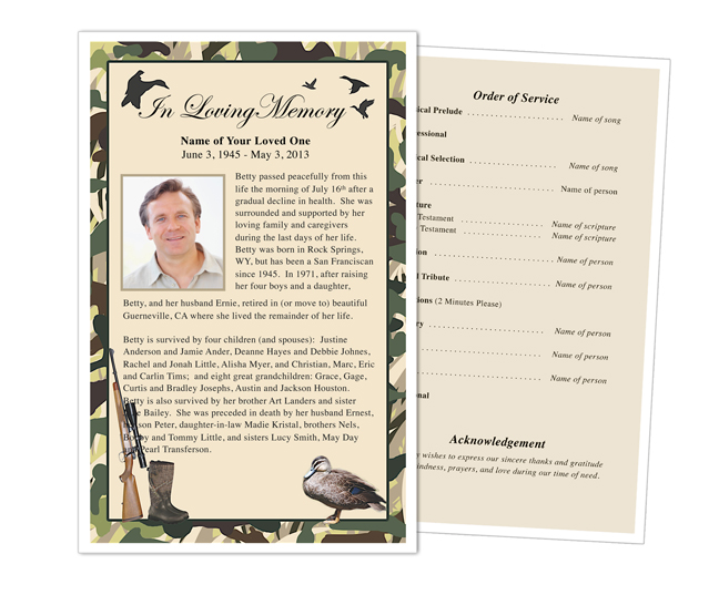 camoflauge funeral flyer template half sheets