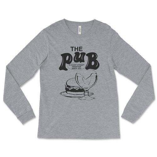 Vintage Pub Bar Grey Long-Sleeved T-Shirt