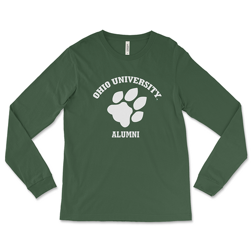 Ohio University Alumni Long Sleeve T-Shirt - Classic Paw Print Green