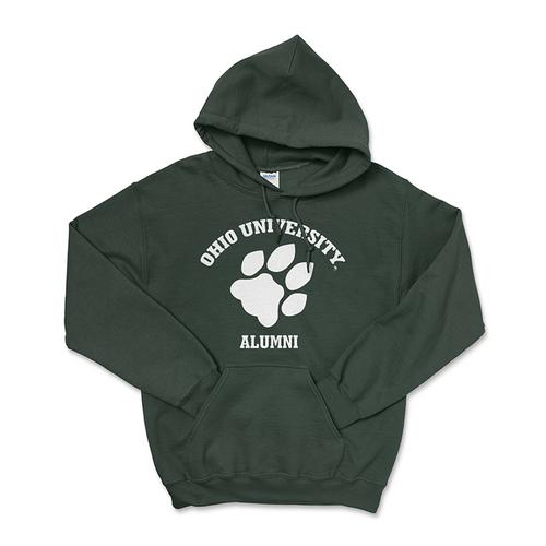 Ohio University Alumni Hoodie - Classic Paw Print Green