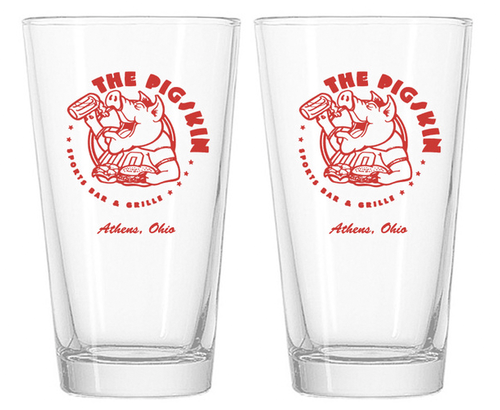 The Pigskin Pint Glasses
