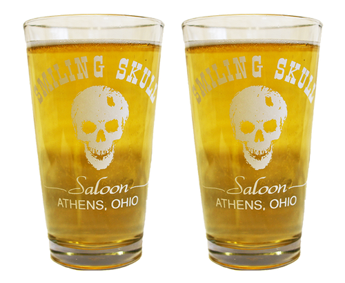 Set of 2 Smiling Skull Pint Glasses - Athens, Ohio