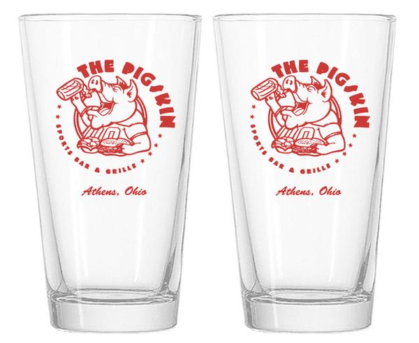 The Pigskin Pint Glasses