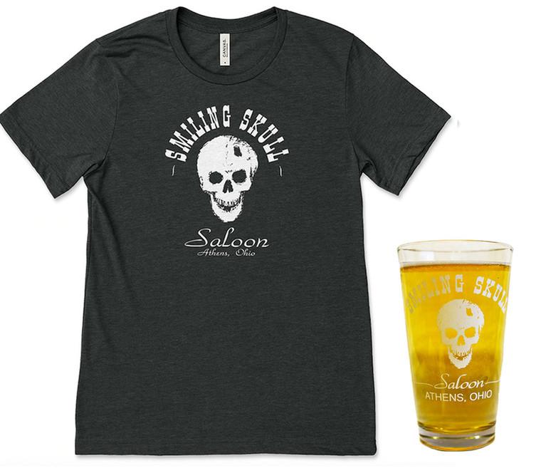 Smiling Skull Saloon T-Shirt & Pint Glass Bundle