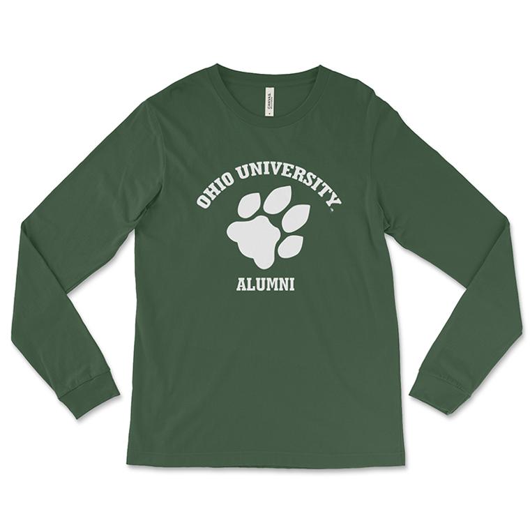 Ohio University Alumni Long Sleeve T-Shirt - Classic Paw Print Green