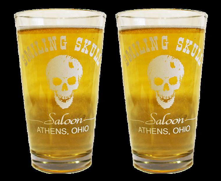Set of 2 Smiling Skull Pint Glasses - Athens, Ohio