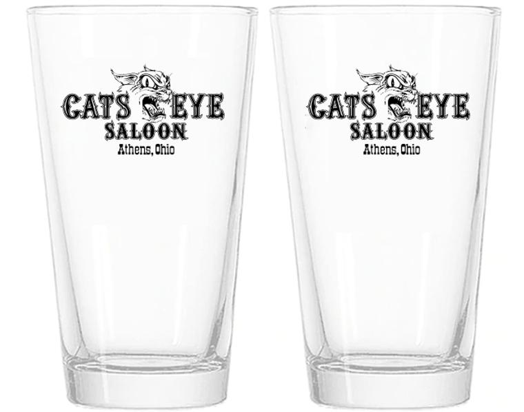 Cats Eye Saloon Pint Glasses - Set of 2