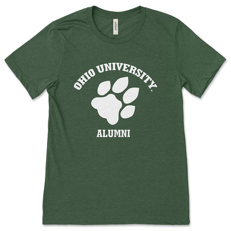 Ohio University Alumni Classic Paw Print Green T-Shirt