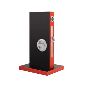 Round privacy door pull for modern barn doors