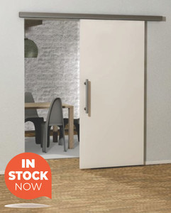 barn door with stainless steel hardware in a modern styled home