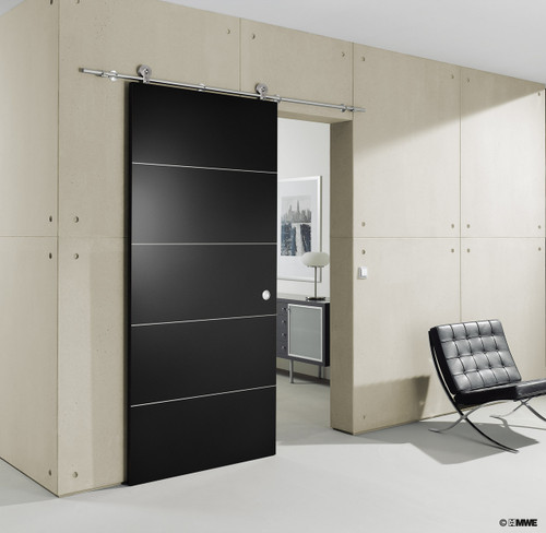 """The MWE """"Surpa"""" sliding door system - made in Germany and hand completed to a 600-grit jewelry like finish. (Door not included with sliding system purchase)"""